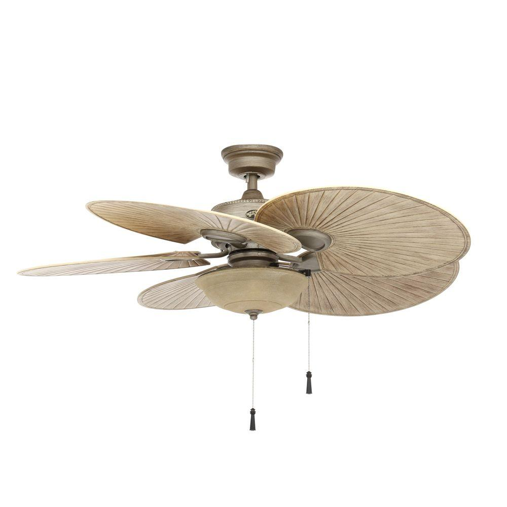 Hampton Bay Havana 48 in. Outdoor Ceiling Fan - Cambridge Silver ...