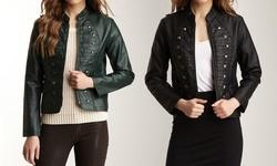 Shu & Shu Women's Faux Leather Jackets - Green - Size: Large