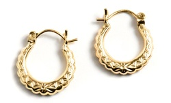 10K Solid Gold Hoop Earrings with Intricate Details