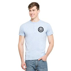 NFL Indianapolis Colts Men's '47 Roost Short Sleeve Henley Shirt, Small, Cruiser Blue
