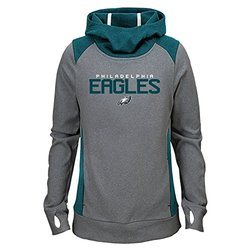NFL Philadelphia Eagles Girls Ultimate Funnel Hoodie, Light Charcoal, Large (14)