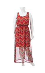 Extra Touch Chevron Belted Dress - Juniors Plus - Coral - Size: 2XL
