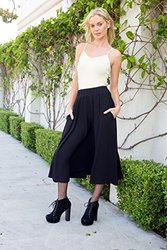 Women's Flared Midi Skirt: Black/xl