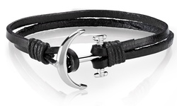 Men's Genuine Leather Anchor Charm Bracelets