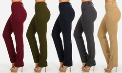 Womens Juniors Stretchy High Waist Straight Dressy Pants - Olive - Size: L