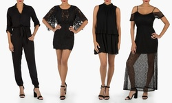 Black Dresses And Jumpsuits: 3/4 Sleeve Lace Dress W/zip V Back - Small