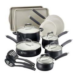 Savannah Collection Aluminum Cookware Set w/ Bakeware (17-Piece): Black