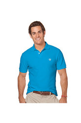 Chaps Men's Short Sleeve Pique Polo - Blue - Size: Large