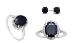 Firefacet Gemstones 3.50 Carat Sapphire And Diamond Ring with Earrings
