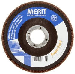 "Merit Powerflex Contoured Abrasive Flap Disc, Type 29, Round Hole, Fiberglass Backing, Zirconia Alumina, 4"" Dia., 60 Grit (Pack of 10)"