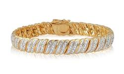 Brilliant Diamond 14k Gold Diamond Double Row Bracelet - White