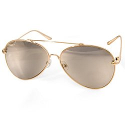 AQS Unisex Tommie Aviator Sunglasses - Gold Frame/Gold Lens
