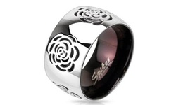 West Coast Rose Cut Out Domed Ring in Stainless Steel - Size: 8