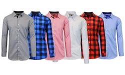 Men's Slim Fit Woven Shirts: White/black/large