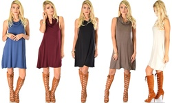 Lyss Loo Groove Thing Ribbed Cowl Neck Shift Dress: Brown/xl