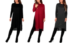 Women's Knee-length Hacci Tunic: Red/large