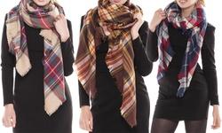 Peach Couture Fall Fashion Plaid Oversized Blanket Scarves: Cream Orange