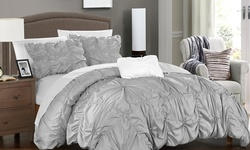 Chic Home Armani Floral Duvet Cover Set (4-piece): Queen/silver