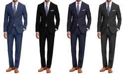 Braveman 2pk Classic Fit 2pc Suits: Black-charcoal/44s X 38w