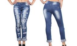 VIP Jean Women's Distressed Skinny Jeans - Denim - Size: 24W