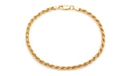 Sterling Silver Unisex 14K Solid Gold Rope Bracelet