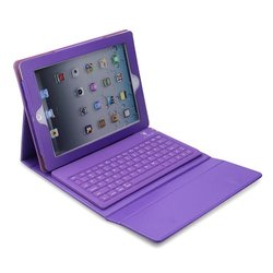 Deep purple Leather Case w/ Built-In Bluethooth Keyboard for Apple iPad (1ST GENERATION iPAD ONLY)