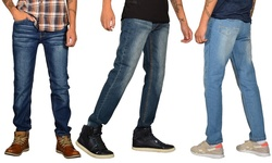Jeans Republic Men's Skinny-Fit Whiskered Jeans - Dark/modern Blue - 38/32