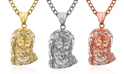 14kt Solid Jesus Head Pendant: Yellow Gold