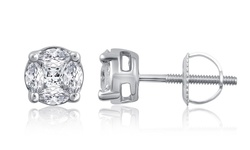 0.35 Cttw Diamond Illusion Stud Earrings In 14kw