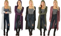 Lyss Loo Women's Long-Line Hooded Cardigan - Olive - Size: Large