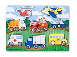 Melissa & Doug Vehicle Peg Puzzle - 8 Pack