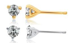 Brilliant Diamond 0.25 CT Women's Martini Stud Earrings in 14k White Gold
