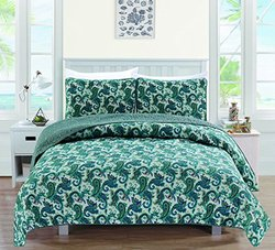 Ultra Soft Printed Quilt Sets: Cameryn-blue/twin (3-piece)
