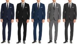 Fellini Men's Classic Fit 2pc Suits: Charcoal/40s-34w