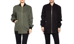 Womens Oversized Bomber: Black/ Large