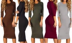 Womens 3/4 Sleeve Midi Bodycon Dress: Mocha/ Large