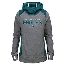 NFL Philadelphia Eagles Girls Ultimate Funnel Hoodie, Light CHARCOAL, XL(16)