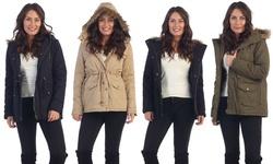 Women's Faux Fur Hooded Winter Jacket - Khaki - Size: Large