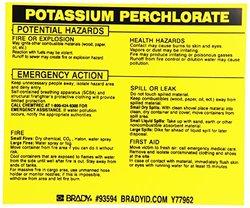 "Brady 93594 Vinyl Hazardous Material Label , Black On Yellow,  3 3/4"" Height x 4 1/2"" Width,  Legend ""Potassium Labels perchlorate"" (25 Labels per Package)"