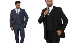 Kenneth Men's Patterned Slim Fit Suits - French Blue - 3Pc - Size:38RX32W