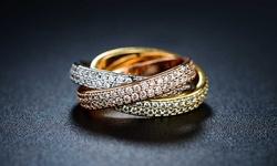 Sevil Women's Three Tone Swarovski Crystal Rolling Ring - Size: 7