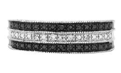 Brilliant Diamond Band Diamond Ring - Band - Black/White - Size: 7mm