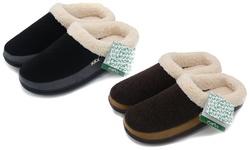 Dasein Women's Wool Memory Foam Slippers: Black & Grey/large