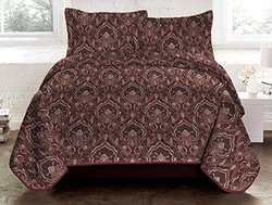 Maya Three Piece Reversible Quilt Set King  Plum