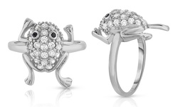 Sterling Silver Micropave Frog Cocktail Ring in 18K White Gold - 9