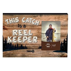 """Prinz """"This Catch is a Reel Keeper"""" Wood box Sign with photo opening, 4 by 6-Inch"""