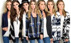 Fashion Square Women's Sleeve Cardigans - Black/Taupe/Chevron - Size: L