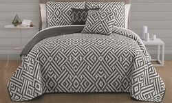 5-piece Quilt Set: Kennedy Black-white/king