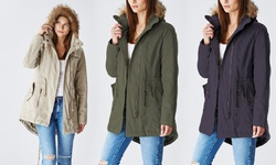 Lady Cotton Parka Jacket With Fur Lined Hood: Olive/xl