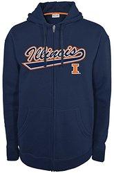 NCAA Illinois Illini Men's Fan Favorite 2 Full Zip Hooded Fleece Shirt, Small, Navy